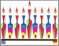 Hanukkah Greeting Card - Colorful Vase Menorah
