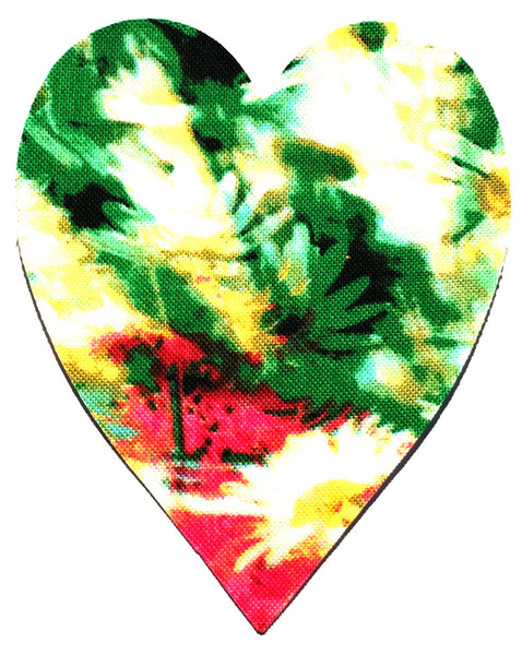 Fusible Applique Hearts - Green Floral (50 Pk)