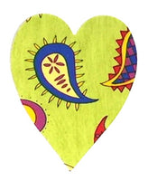 Fusible Applique Hearts - Green With Paisley (50 Pk)