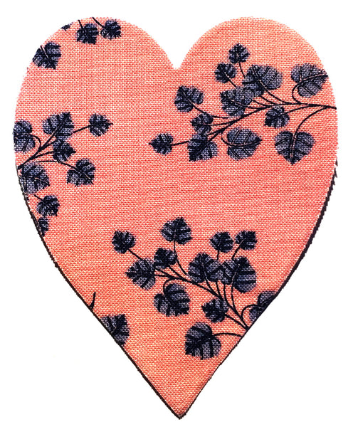 Fusible Applique Hearts - Pink With Flowers (50 Pk)