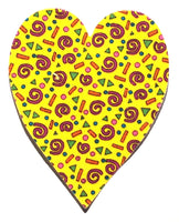 Fusible Applique Hearts - Swirls & Dots on Yellow (50 Pk)