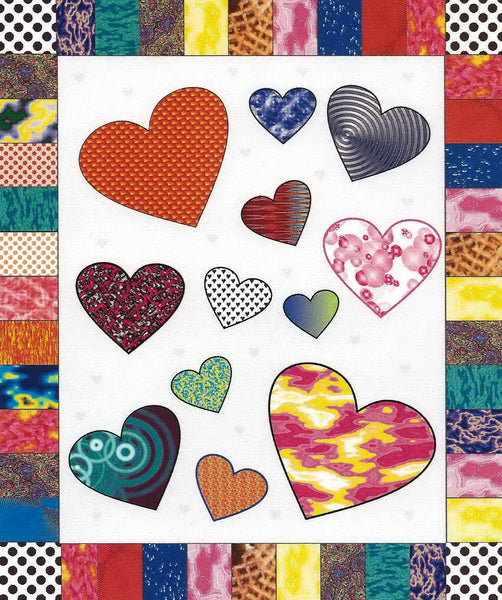 Quilt Themed Greeting Card - Hearts (Blank)