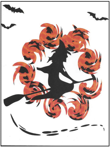 Halloween Greeting Card - Witch on Broom