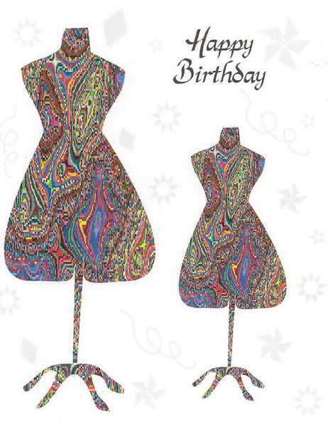 Quilt Themed Greeting Card - Happy Birthday Dress Form
