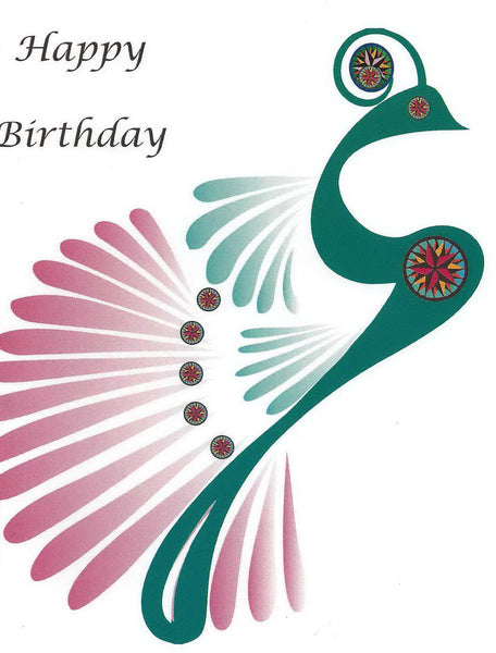 Quilt Themed Greeting Card - Happy Birthday Peacock