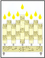 Hanukkah Greeting Card - Music Note Menorah