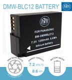 BM 2 Pack DMW-BLC12 High Capacity Batteries for Panasonic DC-FZ1000 II DC-G95 DMC-G85 DMCG5 DMC-G6 DMC-G7 DMC-GX8 FZ200 FZ300 FZ1000 DMC-FZ2500 Camera