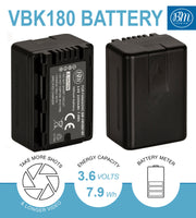 BM Premium VW-VBK180 Battery and Charger for Panasonic HC-V10 HC-V100 HC-V500 HC-V600M HC-V700 HDC-HS40 HS40K HS60 HS60K HS80 HS80K SDR-T76 Camcorders