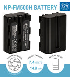BM 2 NP-FM500H Batteries and Dual Bay Charger for Sony Alpha a77II, a68, SLT-A57, SLT-A58, A65V, A77V, A99V, A100, A200, A300, A350, A450 DSLR Cameras