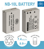 BM Premium 2 Pack of NB-10L Batteries and Charger Kit for Canon PowerShot G15, G16, G1X, G3-X, SX40 HS, SX50 HS, SX60 HS Digital Cameras