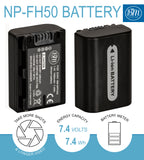 BM 2 NP-FH50 Batteries and Dual Bay Charger for Sony Cyber-Shot DSC-HX1 DSC-HX100V DSC-HX200V HDR-TG5V DSLRA230 A290 DSLRA330 DSLRA380 DSLRA390 Camera