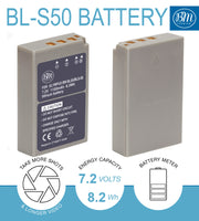 BM Premium 2 Pack BLS-50, PS-BLS5 Battery and Dual Bay Charger for Olympus OM-D E-M5 III, E-M10 III, E-M10 IV, E-PL8, E-PL9, E-PL10, Stylus 1 Cameras