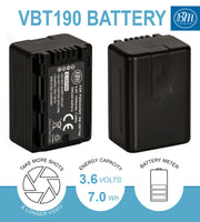 BM 2 VW-VBT190 Batteries and Dual Bay Charger for Panasonic HC-V800K VX1K WXF1K V510 V520 HC-V550 V710 V720 V750 V770 VX870 VX981 W580 W850 HC-WXF991