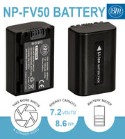 BM Premium 2 Pack of NP-FV50A High Capacity Batteries for Sony Handycam Camcorders