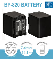 BM Premium 2 Pack of BP-820 Batteries and Charger for Canon XA10, XA11, XA15, XA20, XA25, XA30, XA35, XA40, XA45, XA50, XA55 Camcorders