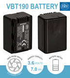 BM 2 VW-VBT190 Batteries and Charger for Panasonic HC-V800K HC-VX1K HC-WXF1K HCV510 HCV520 HC-V550 V710 V720 V750 V770 VX870 VX981 W580 W850 HC-WXF991