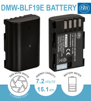 BM Premium 2 Pack of DMW-BLF19 Batteries and Battery Charger for Panasonic Lumix DC-G9, DC-GH5, DMC-GH3, DMC-GH3K, DMC-GH4, DMC-GH4K Digital Camera