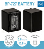 BM 2 BP-727 Batteries and Dual Battery Charger for Canon HFR50 HFR52 HFR500 HFR60 HFR62 HFR600 HFR70 HFR72 HFR700 HFR80 HFR82 HFR800 HFM500 Camcorders