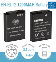 BM 2 EN-EL12 Batteries and Charger for Nikon Coolpix A1000 B600 W300 A900 AW100 AW110 AW120 AW130  S9400 S9500 S9700 S9900 KeyMission 170, 360 Cameras