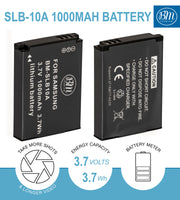 BM Premium 2 Pack of SLB-10A Batteries for Samsung L310W, LZ10, M100, M110, M310, NV9, P800, PL50, PL51, PL55, PL60, PL65, PL70, PL80, SL35 Cameras