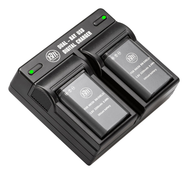 BM Premium 2 Pack of EN-EL23 Batteries and Dual Battery Charger for Nikon Coolpix B700, P900, P600, P610, S810c Digital Camera