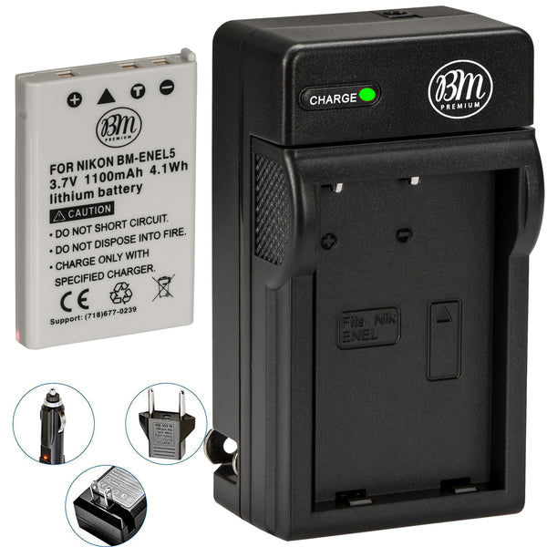 BM Premium EN-EL5 Battery and Battery Charger for Nikon Coolpix P80, P90, P100, P500, P510, P520, P530 Digital Cameras