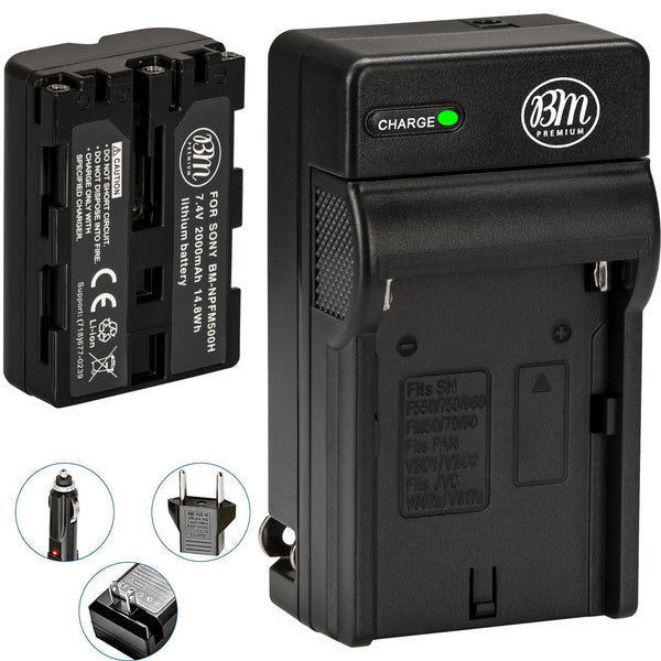 BM Premium NP-FM500H Battery and Charger for Sony Alpha a77II, a68, SLT-A57, SLT-A58, A65V, A77V, A99V, A100, A200, A300, A350, A450 DSLR Cameras