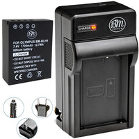 BM Premium Fully Decoded BL-H1 Battery and Charger for Olympus OM-D E-M1 Mark II, OM-D E-M1 Mark III, OM-D E-M1X, BCH-1, HLD-9 Cameras