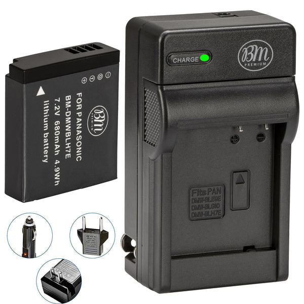 BM Premium DMW-BLH7 Battery and Charger for Panasonic Lumix DC-GX850 DMC-LX10 DMC-LX15 DMC-GM1 DMC-GM1K DMC-GM1KA DMC-GM1KS DMC-GM5 DMC-GM5KK Cameras