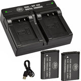 BM Premium 2 Pack NP-BX1/M8 Batteries and Dual Bay Charger for Sony CyberShot DSC-RX100, DSC-RX1R II, HX50V, HX60V HX80V, HX90V, WX300, WX350 Cameras