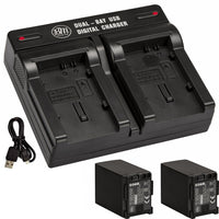 BM 2 BP-828 Batteries and Dual Bay Charger for Canon VIXIA HFG60 HFG50 XA40 XA45 XA50 XA55 GX10 HFG20 HFG21 HFG30 HFG40 XA15 XA20 XA25 XF400 XF405
