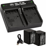BM Premium Pack of 2 NP-FV70 Batteries and Dual Bay Battery Charger for Sony Handycam Camcorders