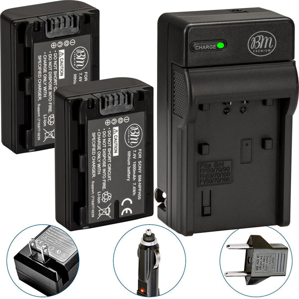 BM Premium 2 NP-FH50 Batteries and Charger for Sony Cyber-Shot DSC-HX1 DSC-HX100V DSC-HX200V HDR-TG5V Alpha DSLR-A230 A290 A330 A380 RA390 Cameras