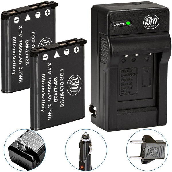 BM Premium 2 Pack of LI-40B, LI-42B Batteries and Battery Charger for Olympus Stylus 1040, 1050W,  1070, 1200, 7000, 7010, 7020, 7030, 7040 Cameras