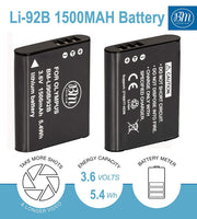 BM Premium LI-90B, LI-92B Battery for Olympus Tough TG-6, TG-5, TG-1, TG-2, TG-3, TG-4, TG-Tracker, SH-1, SH-2, SH-50, SH-60, SP-100, XZ-2 Cameras