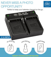 BM 2 DMW-BLH7 Batteries and Dual Battery Charger for Panasonic Lumix DC-GX850 DMC-LX10 DMC-LX15 DMC-GM1 DMC-GM1K GM1KA DMC-GM1KS DMC-GM5 GM5KK Cameras