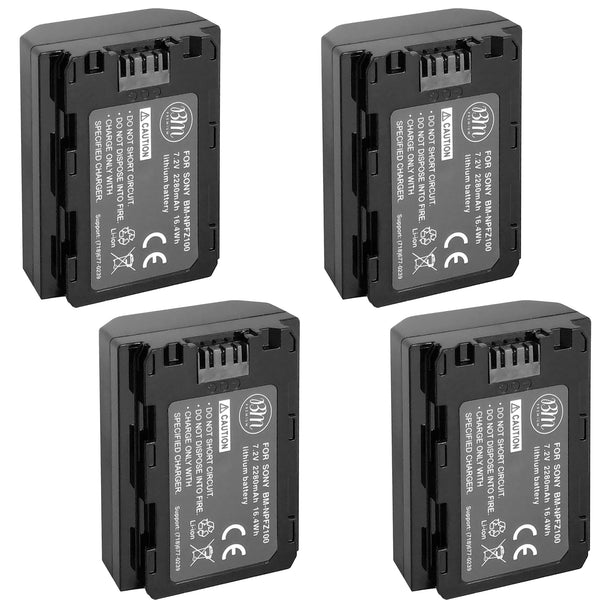 BM Premium 4 Pack of NP-FZ100 Batteries for Sony a7S III, a6600, a7R IV, A7RIII, a7 III, Alpha 9, Sony A9, Alpha a9 II, Alpha 9R, A9R, Alpha 9S Camera