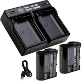 BM 2 EN-EL15B Batteries and Dual Bay Battery Charger for Nikon Z6 Z7 D780 1 V1 D500 D600 D610 D750 D800 D810 D850 D7000 D7100 D7200 D7500 Cameras