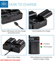 BM 2 NP-FM500H Batteries and Dual Bay Charger for Sony Alpha SLT-A500, SLT-A550, SLT-A560, SLT-A580, SLT-A700, SLT-A850, SLT-A900 DSLR Cameras