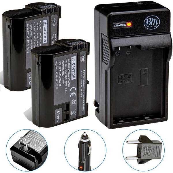 BM Premium 2 EN-EL15B Batteries and Battery Charger for Nikon Z6 Z7 D780 D850 D7500 1 V1 D500 D600 D610 D750 D800 D800E D810 D7000 D7100 D7200 Cameras