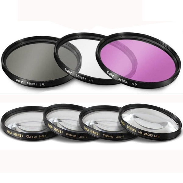 62mm 7PC Filter Set for Panasonic DMC-FZ1000 4K Point and Shoot Camera - Includes 3 PC Filter Kit (UV-CPL-FLD) and 4PC Close Up Filter Set (+1+2+4+10)