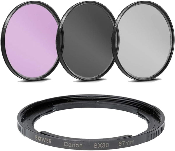 67mm Multi-Coated 3 Piece Filter Kit (UV-CPL-FLD) for Canon SX70 HS, SX1 is, SX10 is, SX20 is, SX30 is, SX40 HS Digital Cameras - Includes FA-DC67A Replacement Ring Adapter