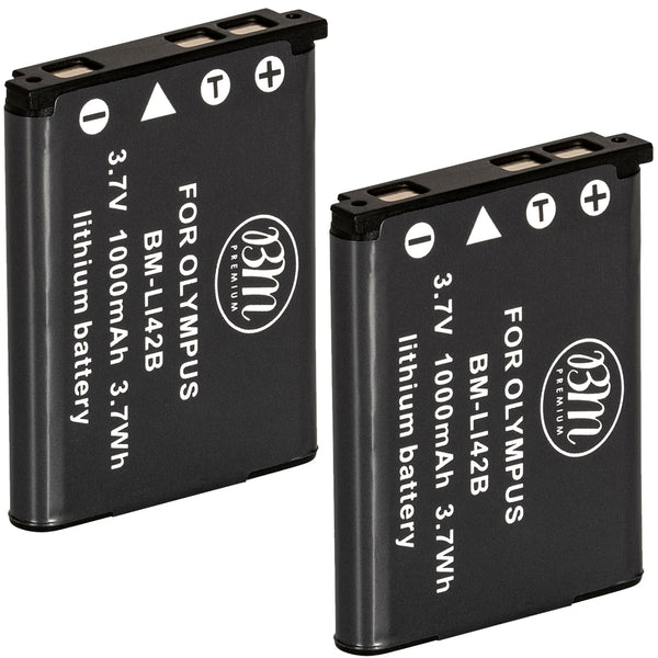 BM Premium 2 Pack of LI-40B, LI-42B Batteries for Olympus Stylus 1040, 1050W, 1060, 1070, 1200, 7000, 7010, 7020, 7030, 7040 Cameras