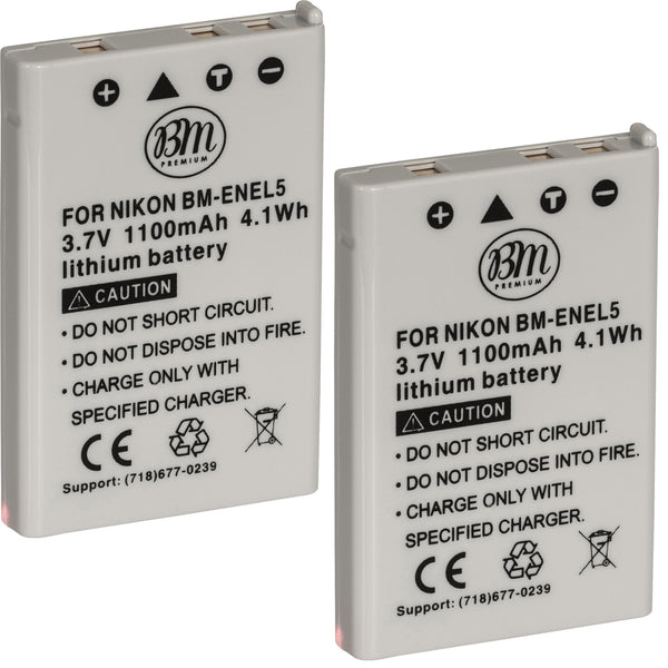 BM Premium 2 Pack of EN-EL5 Batteries for Nikon Coolpix P80, P90, P100, P500, P510, P520, P530 Digital Camera