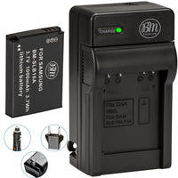BM Premium SLB-10A Battery and Charger for Samsung WB250F, WB2100, WB500, WB550, WB750, WB800F, WB850, WB850F Cameras