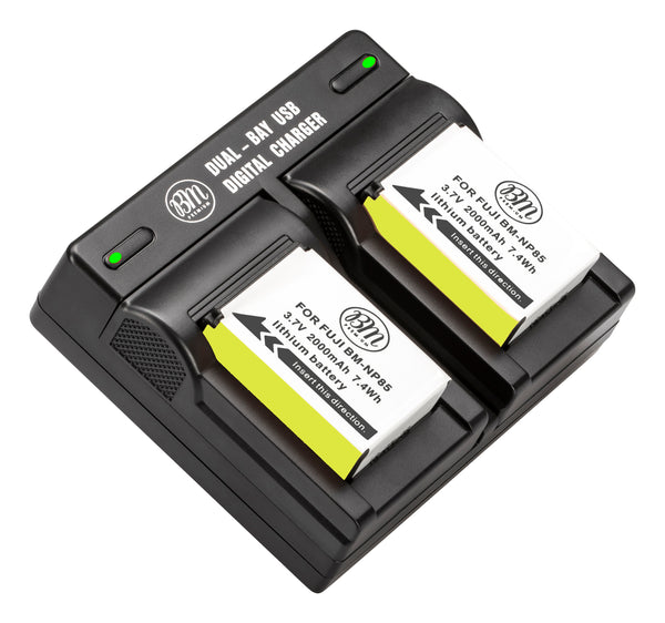 BM Premium 2 Pack of NP-85 Batteries and Dual Bay Charger for Fujifilm FinePix S1 SL240 SL260 SL280 SL300 SL305 SL1000 Digital Cameras