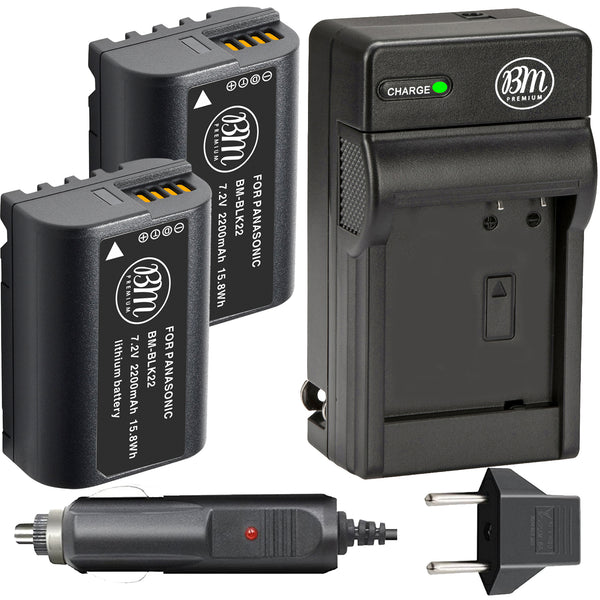 BM Premium 2 Pack of DMW-BLK22 Batteries and Charger for Panasonic Lumix DC-S5 Digital Cameras