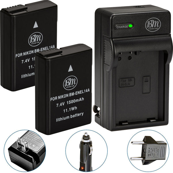 BM Premium 2 EN-EL14A Batteries and Charger for Nikon D3100 D3200 D3300 D3400 D3500 D5100 D5200 D5300 D5500 D5600 DF Coolpix P7000 P7100 P7700 Cameras