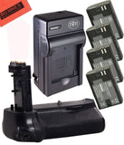 Battery Grip Kit for Canon EOS 7D Mark II Digital SLR Camera Includes Qty 4 BM LP-E6N Batteries + Battery Charger + Replacement BG-E16 Battery Grip