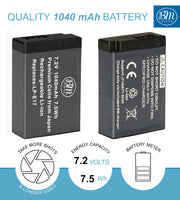 BM Premium LP-E17 Battery and Charger for Canon EOS M6 Mark II, SL2, SL3, EOS RP, EOS M3, EOS M5, EOS M6, EOS Rebel T6i, T6s, T7i, T8i Cameras